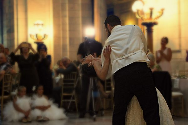 Bride and Groom Dancing To Wedding Band